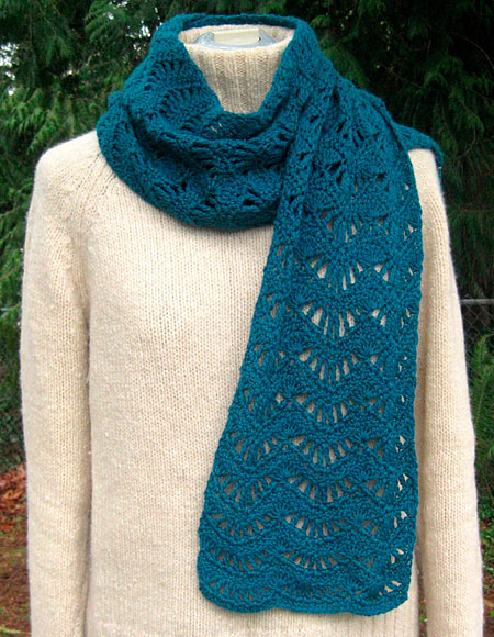 Crochet Lace Weight Shawl Pattern : Ravenna Lace Scarf Crochet Pattern - Knitting Patterns and ...