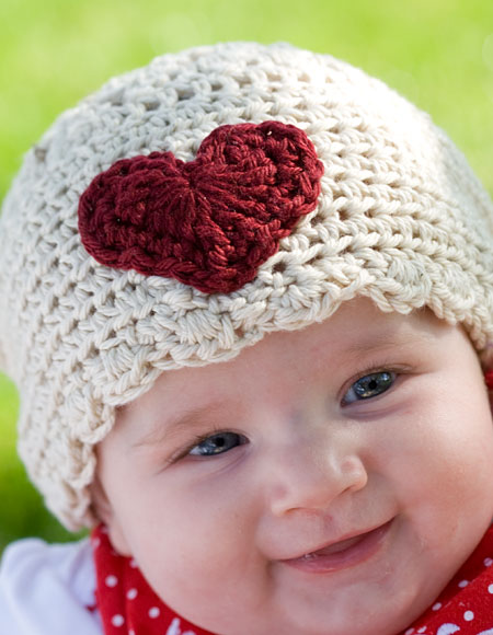 Knitting Pattern Hat With Hearts : Sweet-Heart Crochet Infant Hat - Knitting Patterns and ...