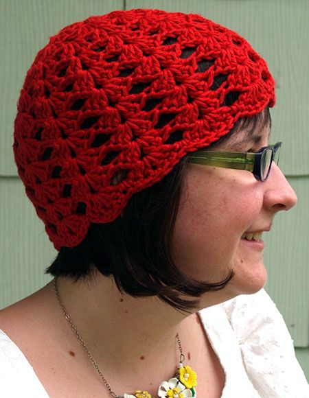 Free Crochet Baby Lacy Hat Pattern : Lacy Shells Crochet Hat - Knitting Patterns and Crochet ...