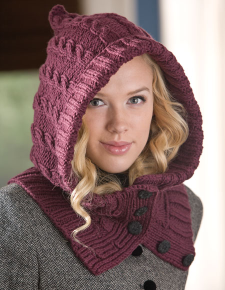 Free Knitting Pattern Hooded Neck Warmer : Through the Woods Hooded Neck Warmer & Cuffs - Knitting ...