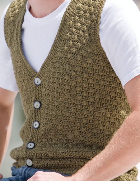 Knitting Pattern Central Men s Vests : Mens Swish Crochet Vest - Knitting Patterns and Crochet ...