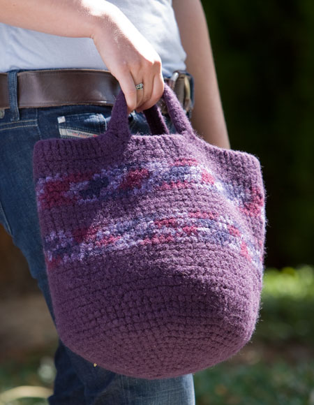 Crochet Felted Tote Bag Pattern : Felted Carry-All Crochet Tote - Knitting Patterns and ...