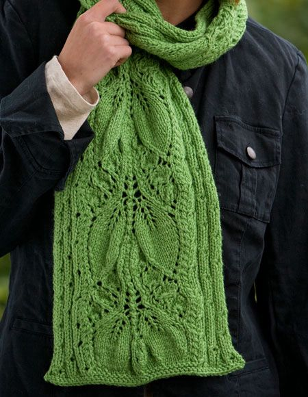 Crochet Scarf Pattern Leaf : Falling Leaves Scarf - Knitting Patterns and Crochet ...