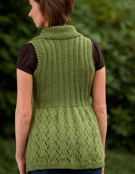 Knitting Pattern Long Vest : Long Lace Shawl-Collared Vest - Knitting Patterns and ...