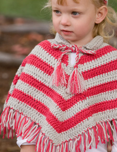 Knitting Pattern Cape Child : Child Crochet Poncho & Hat Set - Knitting Patterns and Crochet Patterns f...