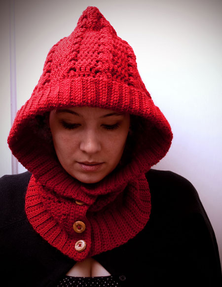 Free Knitting Pattern Hooded Neck Warmer : Crochet Through The Woods Hooded Neck Warmer - Knitting ...