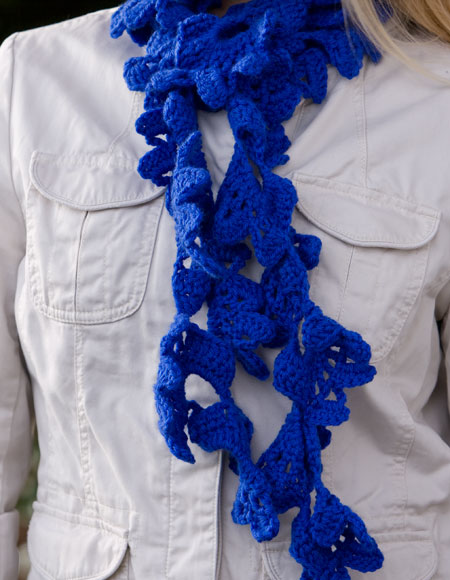 Crochet Scarf Pattern Q Hook : Glen Oaks Lacy Crochet Scarf - Knitting Patterns and ...
