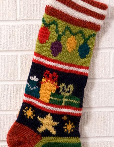 Simple Lace Knit Pattern : Mix-It-Up Christmas Intarsia Stocking Pattern - Knitting Patterns and Crochet...