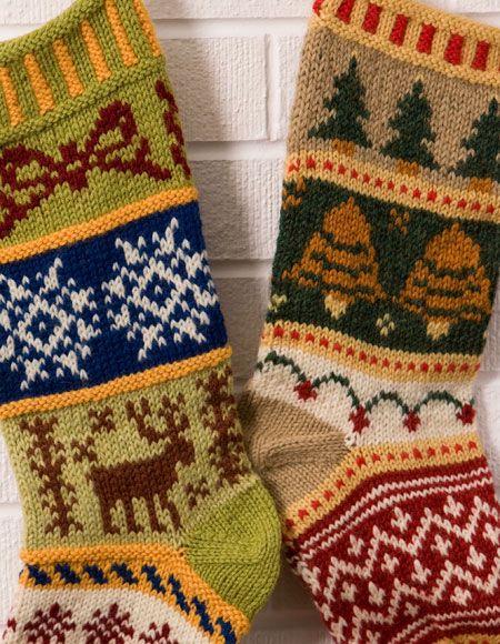 Christmas Stocking Knitting Pattern 2 Needles : Mix-It-Up Christmas Stranded Stocking Pattern - Knitting ...