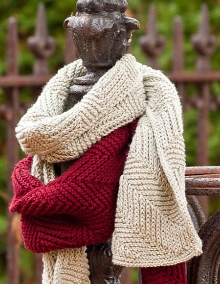 Knitting Patterns Reversible Scarves : Reversible Ribbed Scarf - Knitting Patterns and Crochet Patterns from KnitPic...