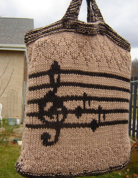 Music Tote Bag - Knitting Patterns and Crochet Patterns from KnitPicks.com