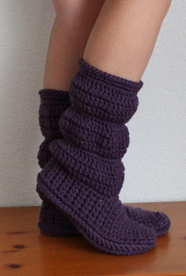 Knitting Pattern Ladies Slipper Boots : Cozy Slippers Crochet Boots - Knitting Patterns and Crochet Patterns from Kni...
