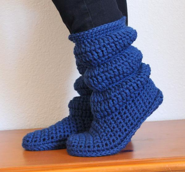 Crochet Free Patterns Boots : Cozy Slippers Crochet Boots - Knitting Patterns and ...