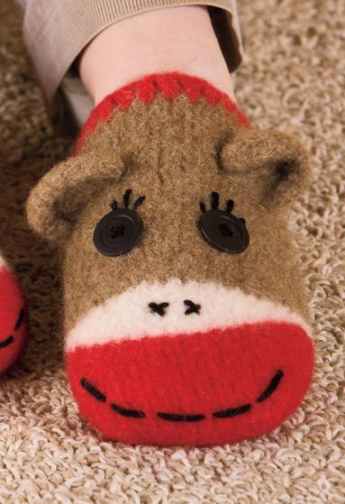 Free Crochet Pattern Sock Monkey Slippers : Sock Monkey Slippers - Knitting Patterns and Crochet ...