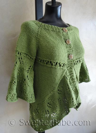 Eyelet Heart Knitting Pattern : Eyelets and Lace Curved Hem Cardigan - Knitting Patterns ...