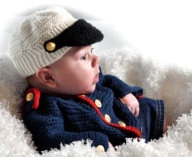 Knitted Baby Boy Hat Patterns : Baby Boy Dress Blues Cardigan & Hat - Knitting Patterns and Crochet Patte...