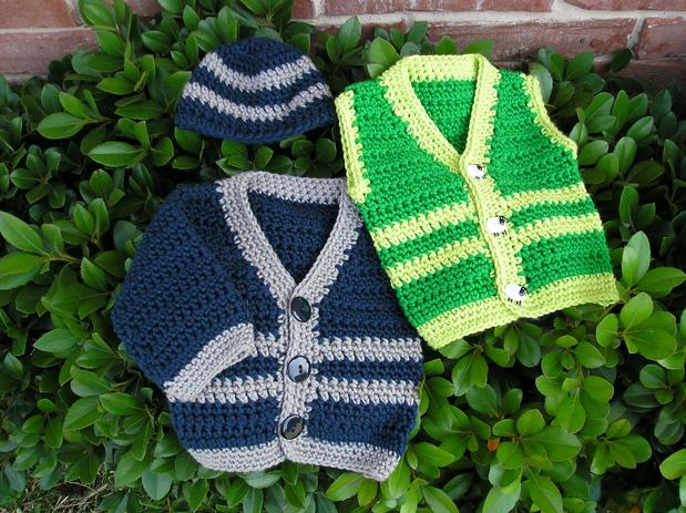 Free Crochet Patterns For Baby Boy Beanies : Santiago Crochet Baby Sweater - Knitting Patterns and ...