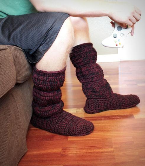 Free Crochet Pattern For Cozy Slipper Boots : Mens Cozy Crochet Slipper Boots - Knitting Patterns and ...