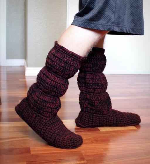 Mens Cozy Crochet Slipper Boots - Knitting Patterns and ...