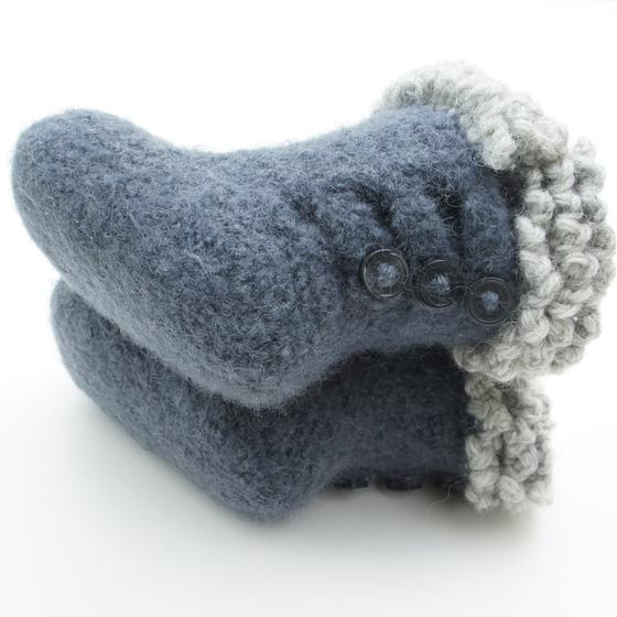 Felted Crochet : Crochet Felted Baby Button Boots - Knitting Patterns and Crochet ...