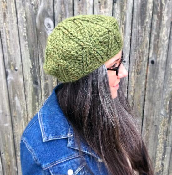 Pattern For Knitting Dishcloth : Bixby Cabled Crochet Beret - Knitting Patterns and Crochet Patterns from Knit...