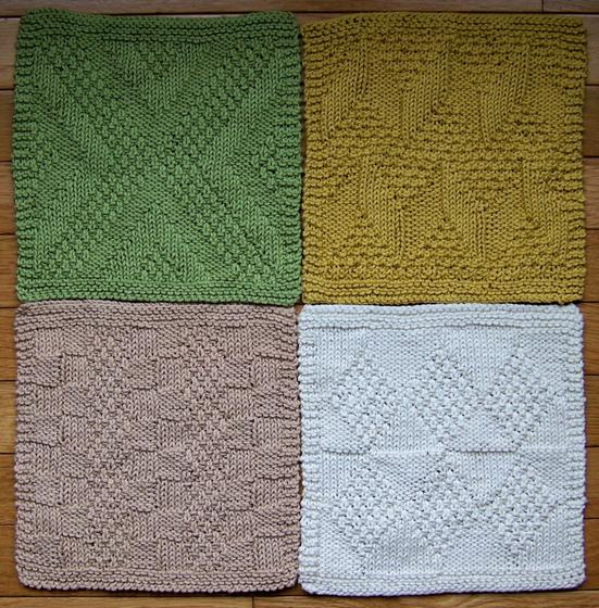 #1 Really Reversible Dishcloths Set of 4 - Knitting Patterns and Crochet Patt...
