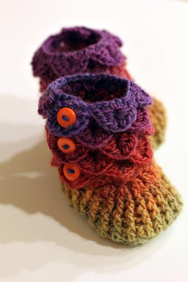 Crochet Pattern For Crocodile Stitch Baby Booties : Crocodile Stitch Crochet Baby Booties - Knitting Patterns ...