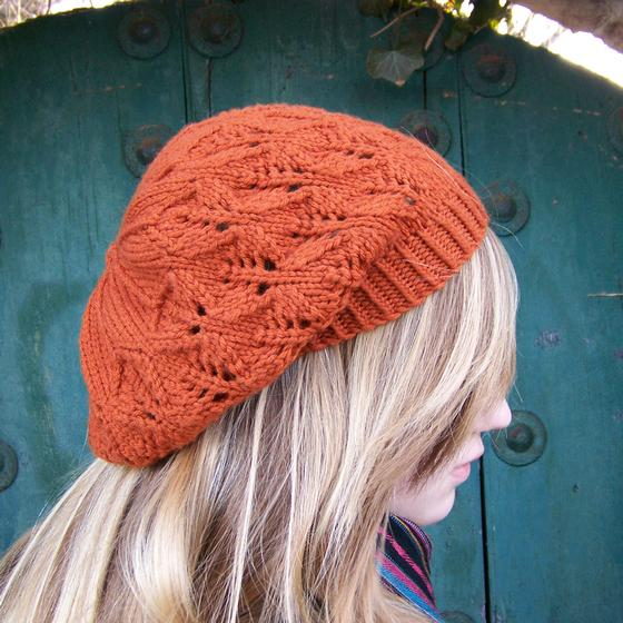 Free Knitted Flowers Patterns : Falling Leaves Beret/Slouch Hat - Knitting Patterns and Crochet Patterns from...