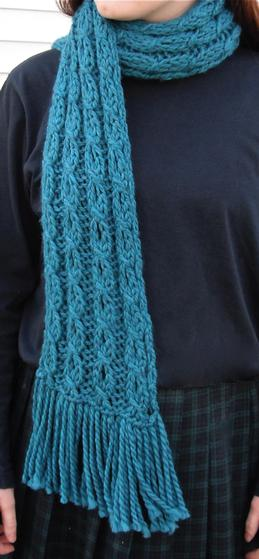 Mock Cable Knit Scarf Pattern : Mock Cable and Eyelet Scarf - Knitting Patterns and Crochet Patterns from Kni...