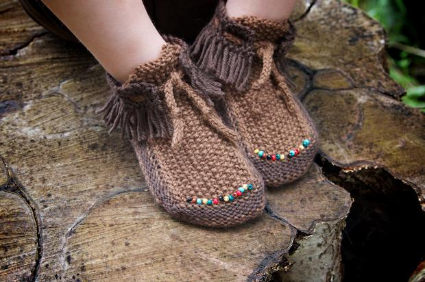 Knitted Moccasin Slippers Pattern : Tum Tum Moccasins - Knitting Patterns and Crochet Patterns from KnitPicks.com