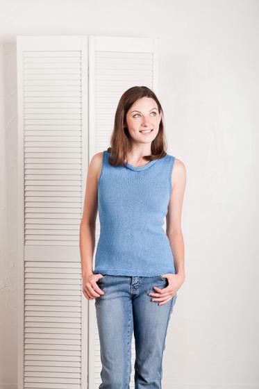 Drapey Cowl Neck Tank Top - Knitting Patterns