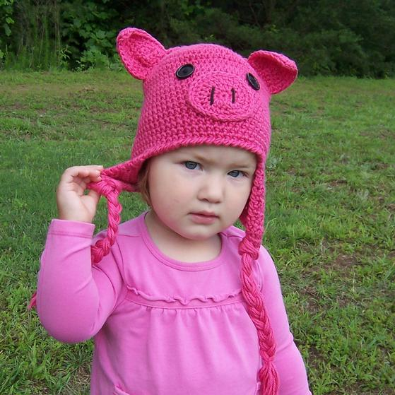 Crochet Pattern Pig Hat : Oink! Oink! Pig Crochet Hat - Knitting Patterns and ...