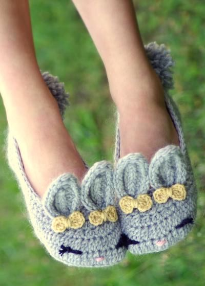 Womens Crochet Bunny Slippers - Knitting Patterns and ...