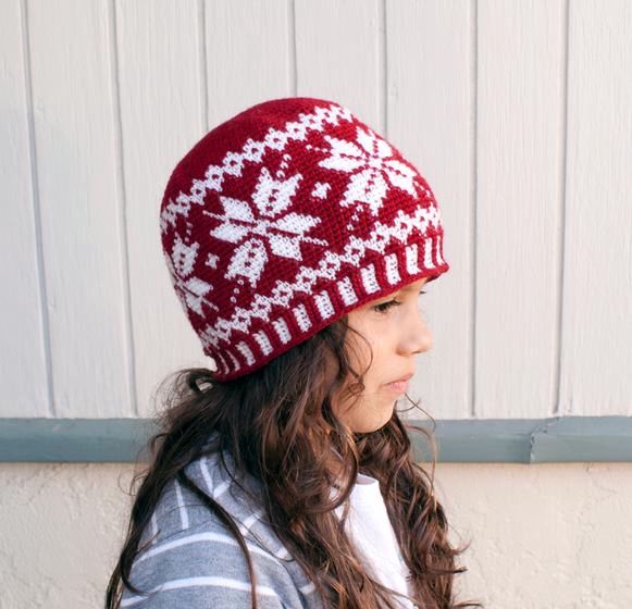 All Ages Frozen Snowflakes Crochet Beanie - Knitting Patterns and ...