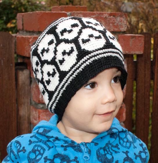Free Crochet Pattern For Skull Beanie : All Ages Super Skull Crochet Beanie - Knitting Patterns ...