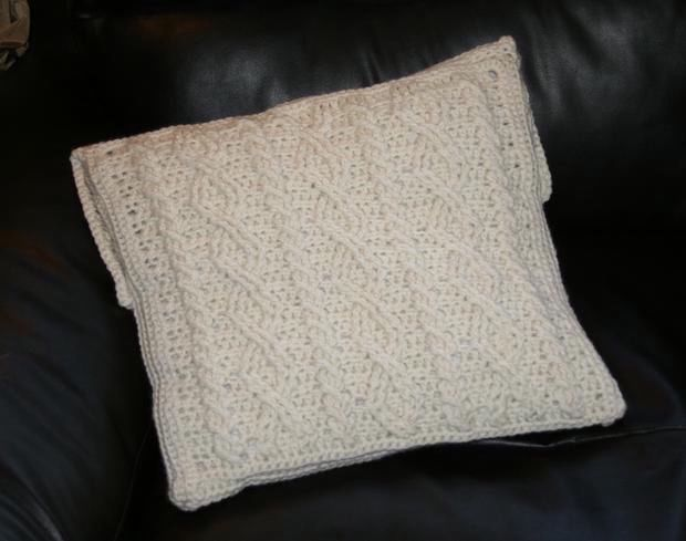 Crochet Cabled Big Block Afghan and Throw Pillow - Knitting Patterns and Croc...