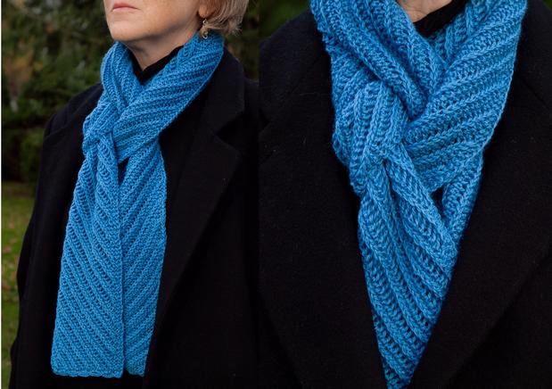 Knit Scarf Pattern Size 5 Needles : Bias Rib Scarf - Knitting Patterns and Crochet Patterns from KnitPicks.com