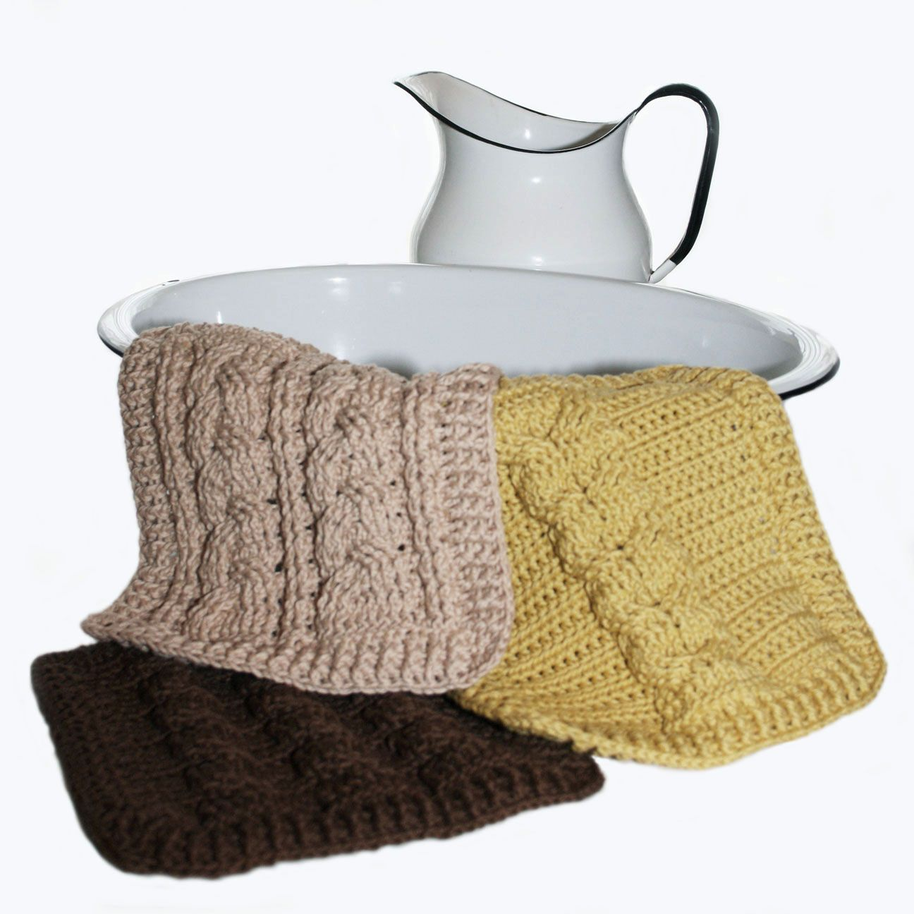 Cable Knit Dishcloth Pattern : Crochet Cable Sampler Dishcloths Pattern - Knitting Patterns and Crochet Patt...