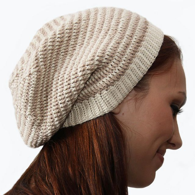 Crochet Beanie Pattern Striped : Crochet Striped Slouch Hat Pattern - Knitting Patterns and ...