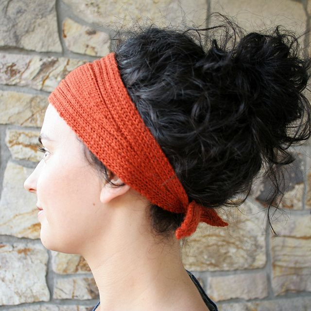 Knitted Head Wrap Pattern Free : Wrap and Tie Headband Pattern - Knitting Patterns and Crochet Patterns from K...