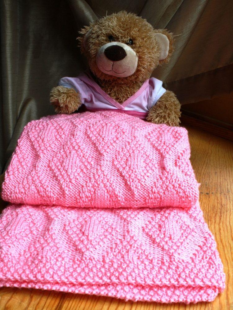 Crochet Baby Blanket Diamond Pattern : Forever Diamonds Baby Blanket Pattern - Knitting Patterns ...