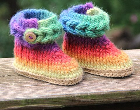 How To Knit Up Stitches On Booties : Knit-Look Braid Stitch Crochet Booties (Baby Sizes) - Knitting Patterns and C...