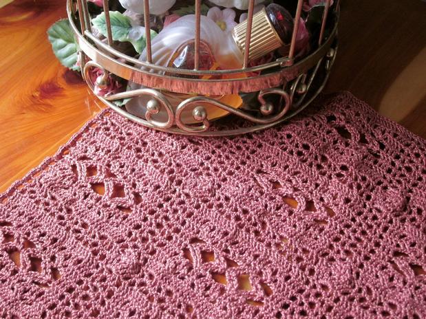 Free Crochet Patterns For Dresser Scarves : Thousand Diamonds Dresser Crochet Scarf - Knitting ...