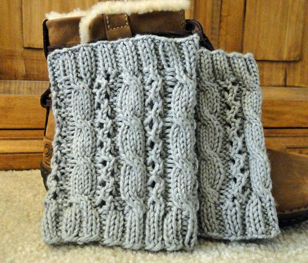Cable Eyelet Boot Cuffs - Knitting Patterns and Crochet Patterns from KnitPic...