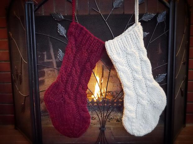 Super Cabled Christmas Stocking - Knitting Patterns and Crochet ...