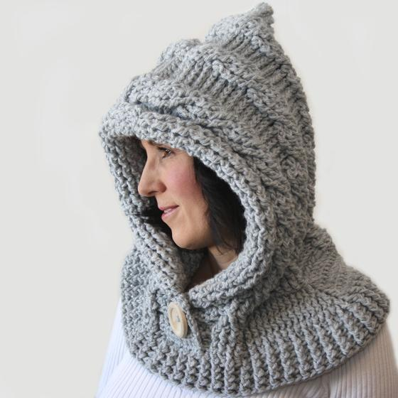 Spirit Hood Knitting Pattern : 51 Degrees North - Crochet Hooded Cowl - Knitting Patterns ...