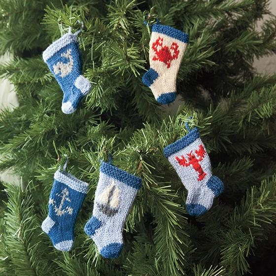 Nautical Christmas Stocking Ornament Pattern Set  Knitting