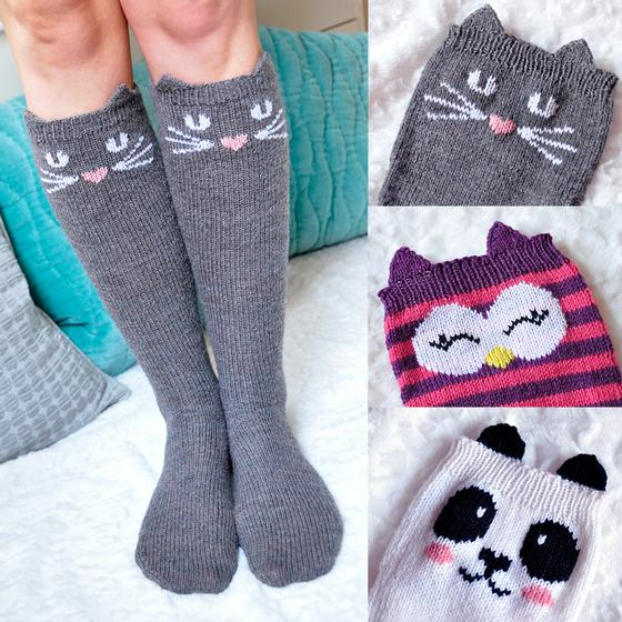 Knitting Pattern Reading Socks : Check Meowt! Knee High Socks - Knitting Patterns and ...