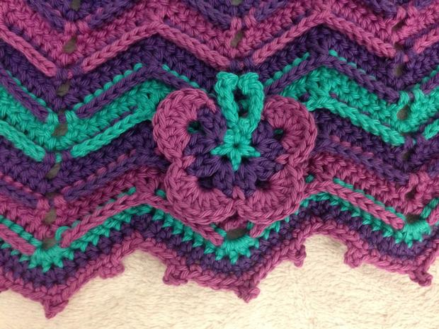 Ridged Chevron Butterfly Blanket - Knitting Patterns and ...