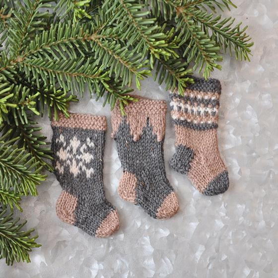 Knitted Stocking Pattern : Nordic Christmas Stocking Ornament Set - Knitting Patterns and Crochet Patter...